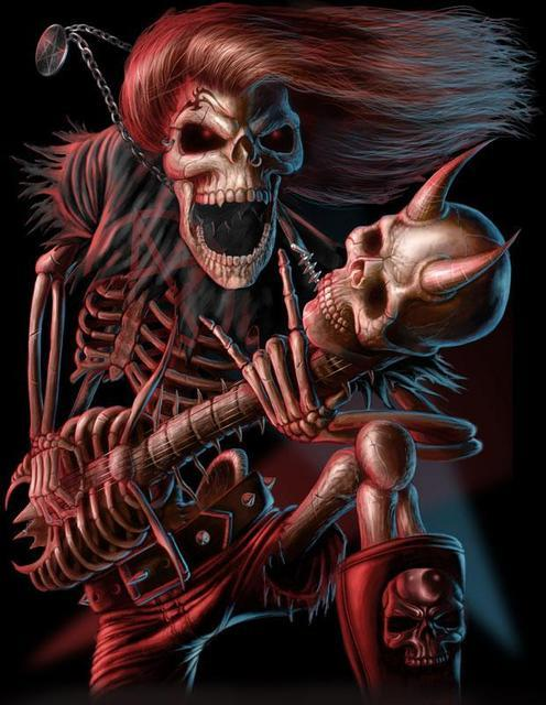 skeleton with bone guitar