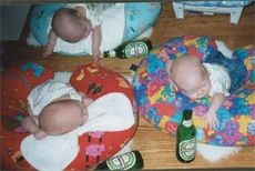 drunk babies passed out with heineken bottles