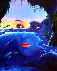 woman's face in water dolphins