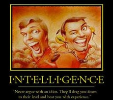 intelligence never argue with an idiot