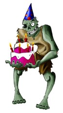 zombie with birthday cake