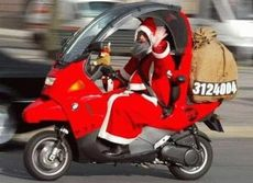 santa on a scooter