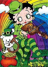 irish betty boop playing violin under a rainbow pot of gold