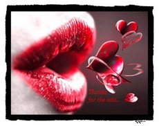 thanks for the add sexy lips blow heart kiss