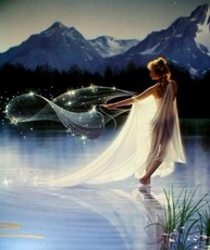 magical lady on water