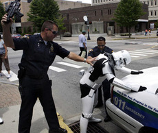 star wars storm trooper searched by cops