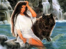 native american with wolf