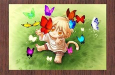 baby plays with butterflies