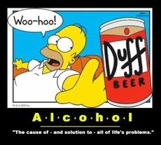 alcohol the cause of and solution to all of lifes problems homer simpson duff beer